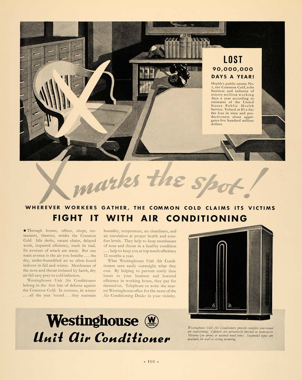 1933 Ad Westinghouse Unit Air Conditioner Micarta Style - ORIGINAL F6A