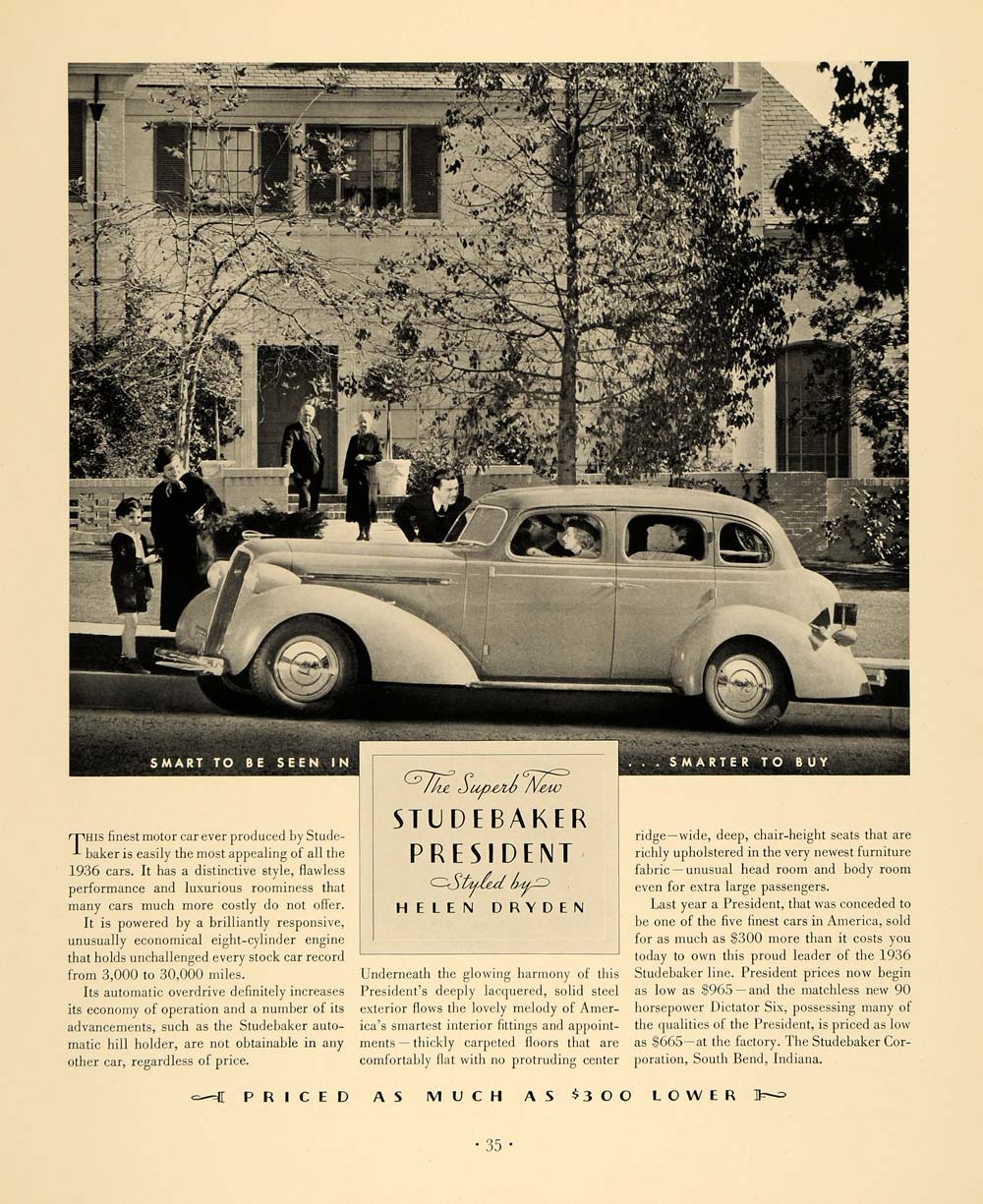 1936 Ad Studebaker President Automobile Vintage Vehicle Family Home South F6A