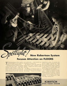 1936 Ad Robertson System Flooring Steel Electric Men - ORIGINAL ADVERTISING F6A