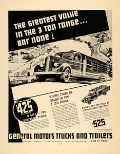 1936 Ad General Motors Trailers Delivery Trucks Pontiac - ORIGINAL F6A