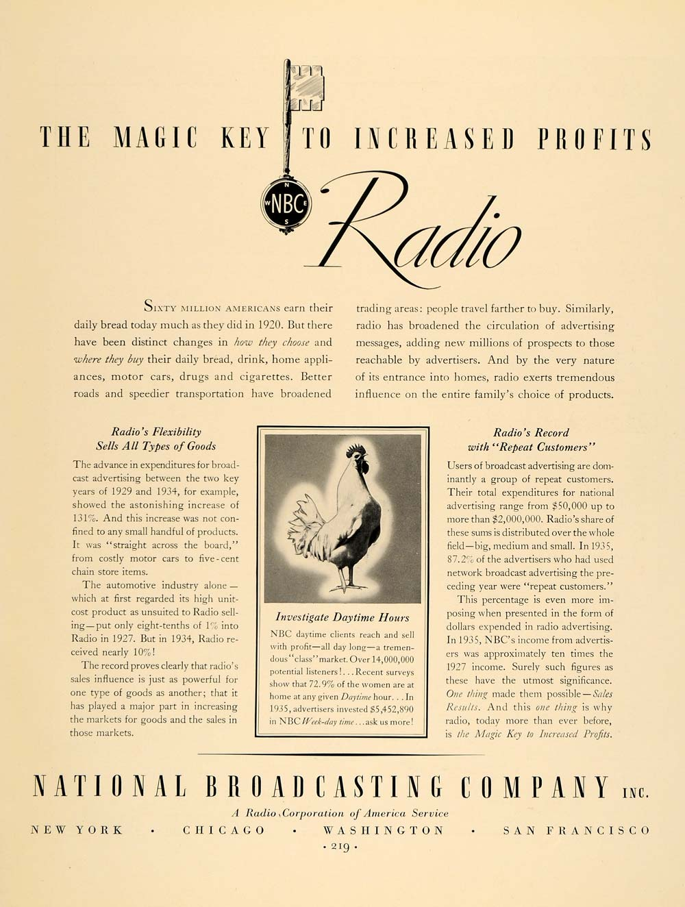 1936 Ad Radio NBC Magic Key Broadcast Chicken RCA Goods - ORIGINAL F6A