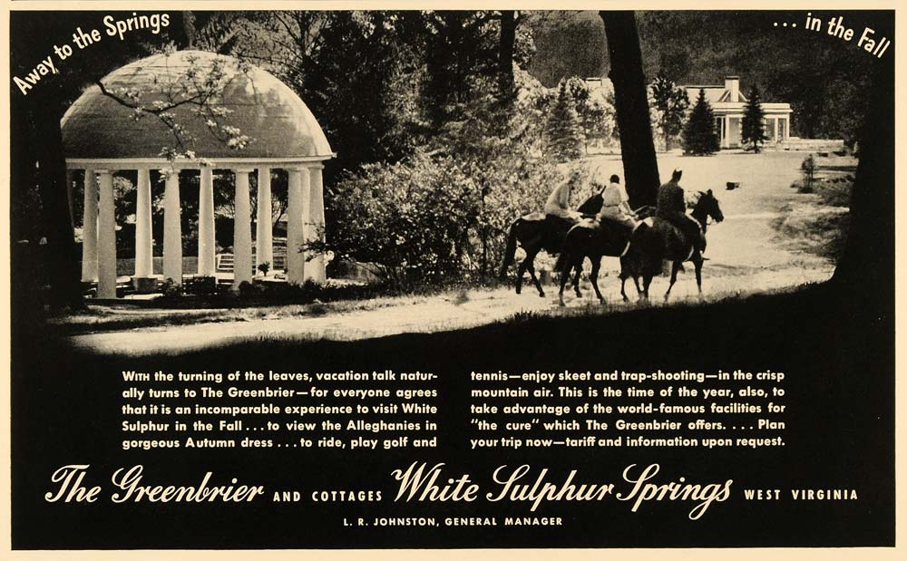 1936 Ad Greenbrier White Sulphur Springs Horse Riding - ORIGINAL ADVERTISING F6B