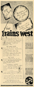 1936 Ad Santa Fe Railway Pullman Trains Gus W.J. Black - ORIGINAL F6B