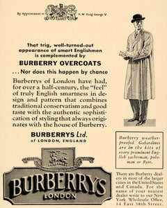 1935 Ad Burberrys Overcoats Men Apparel Outfit Winter - ORIGINAL ADVERTISING F6B