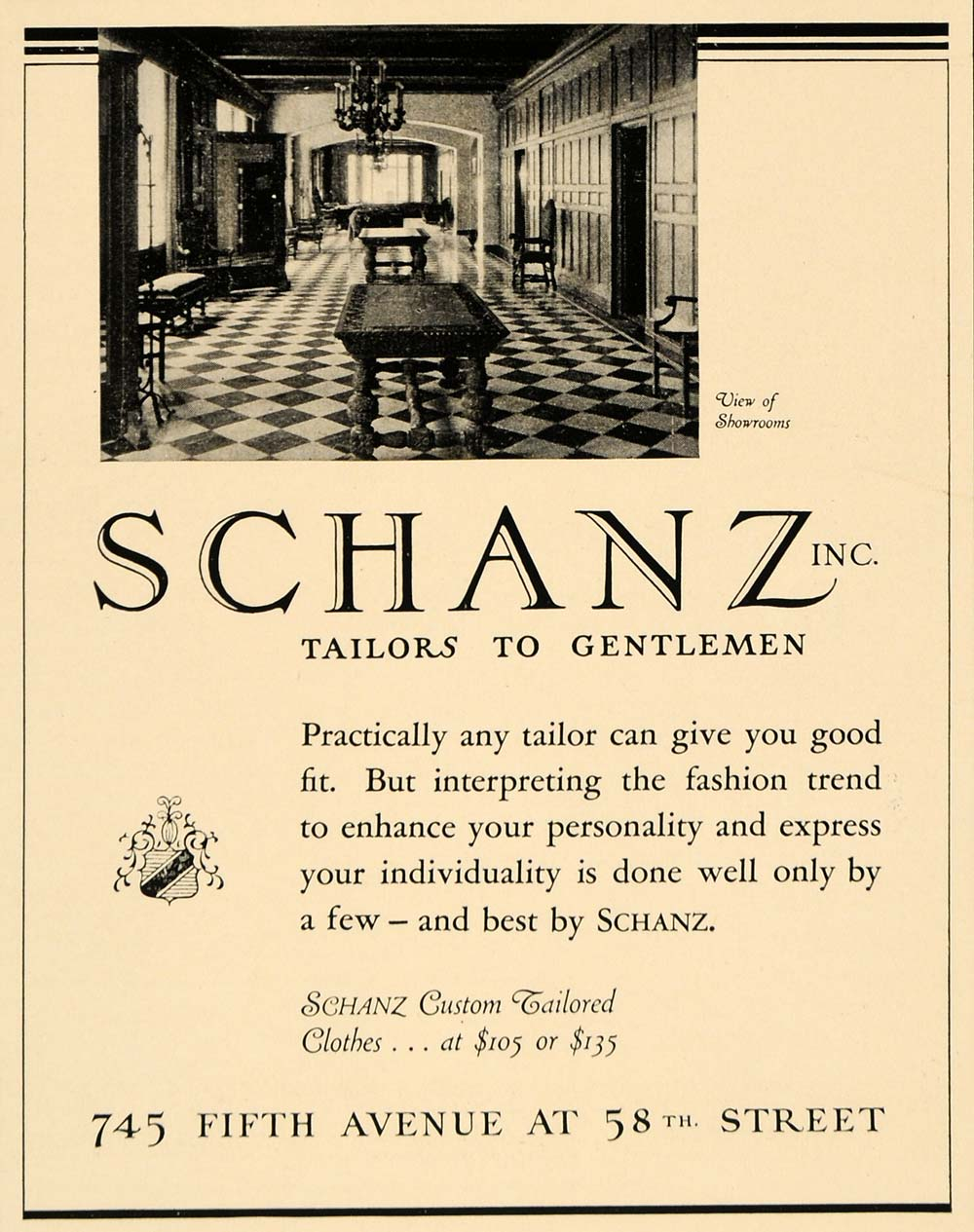 1936 Ad Schanz Clothing Gentlemen Apparel Fashion NY - ORIGINAL ADVERTISING F6B