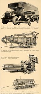 1933 Ad Harvester Truck Grain Thresher Beet Drill Truck - ORIGINAL F6B