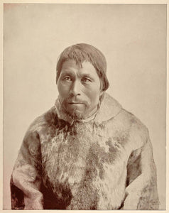1893 Chicago World's Fair Ethnic Portrait Eskimo Man Labrador Inuit Seal Skin
