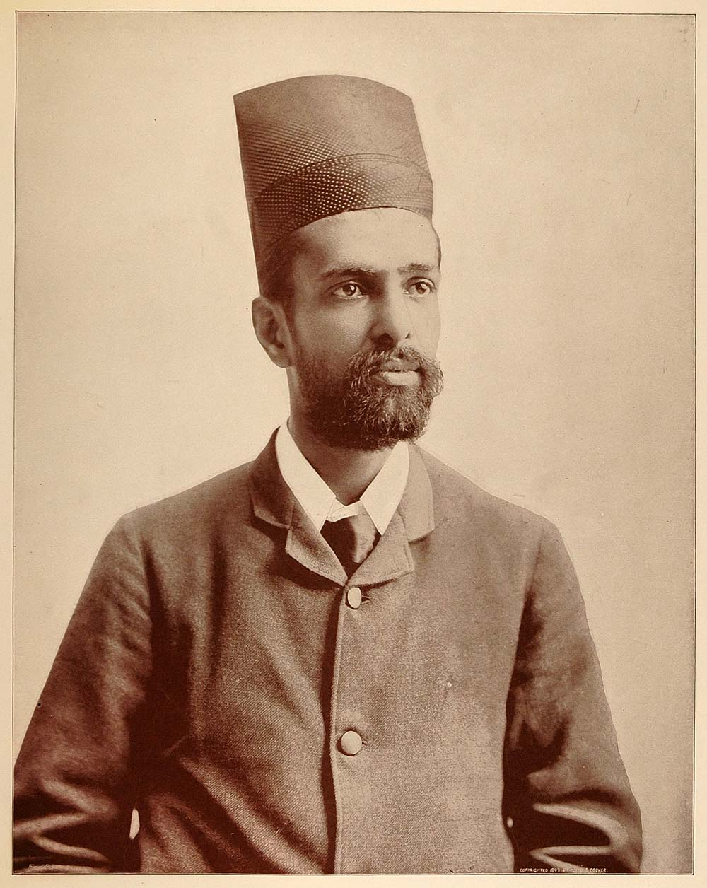 1893 Chicago Worlds Fair Portrait Parsi East Indian Merchant Man Historic Image