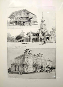 1896 Print 1893 Chicago World's Fair State Buildings Idaho Pennsylvania NY FAI7