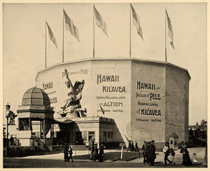 1893 Chicago World's Fair Kilavea Exhibit Hawaii Print ORIGINAL HISTORIC IMAGE