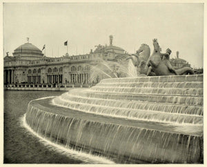 1893 Print Chicago World's Fair Mac Monnies Fountain - ORIGINAL HISTORIC FAR1