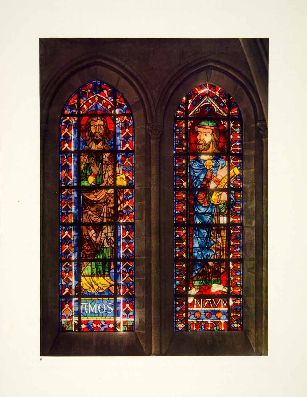 1947 Print Bourges Cathedral Stained Glass Amos Nahum Choir Windows FCW1