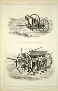 1852 Steel Engraving Antique Seed Drill Sowing Farm Equipment Agriculture FD1