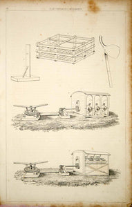 1852 Steel Engraving Antique Print Flax Cultivation Mill Machine Agriculture FD1