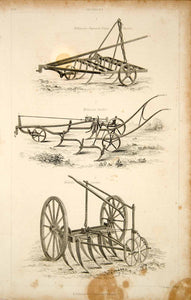 1852 Steel Engraving Antique Grubber Cultivator Harrow Farm Tool Agriculture FD1
