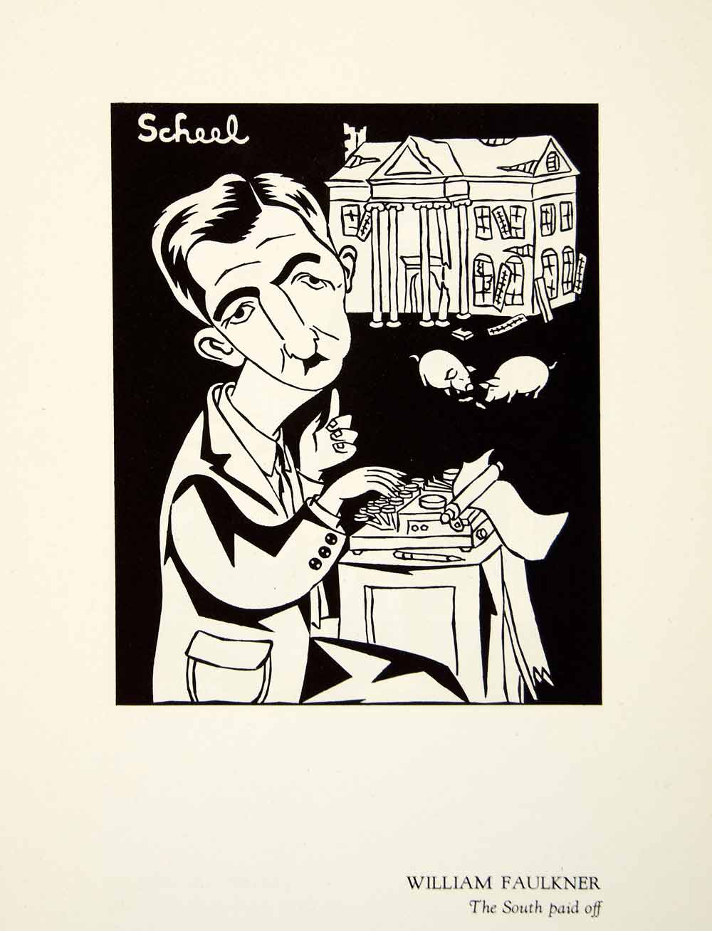 1951 Offset Lithograph William Faulkner South Paid Caricature Theodor Scheel