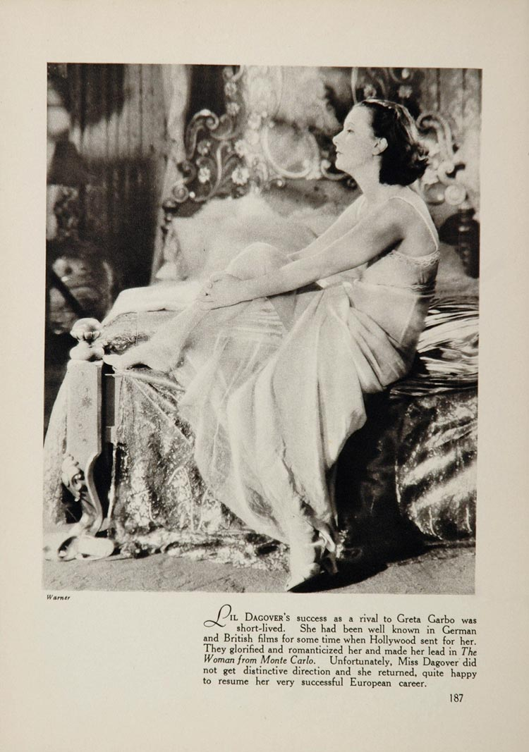 1933 Lil Dagover Warner Bros. Actor Movie Film Print Actress Hollywood FILM