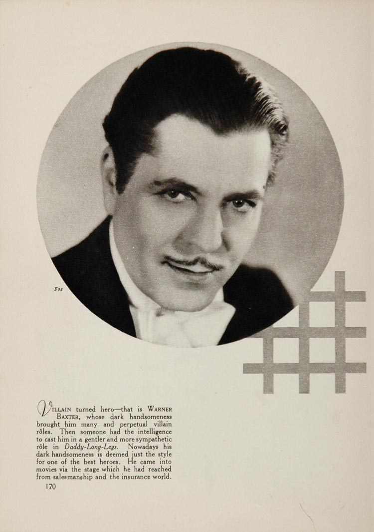 1933 Warner Baxter Fox Silent Film Movies Actor Print The Great Gatsby FILM