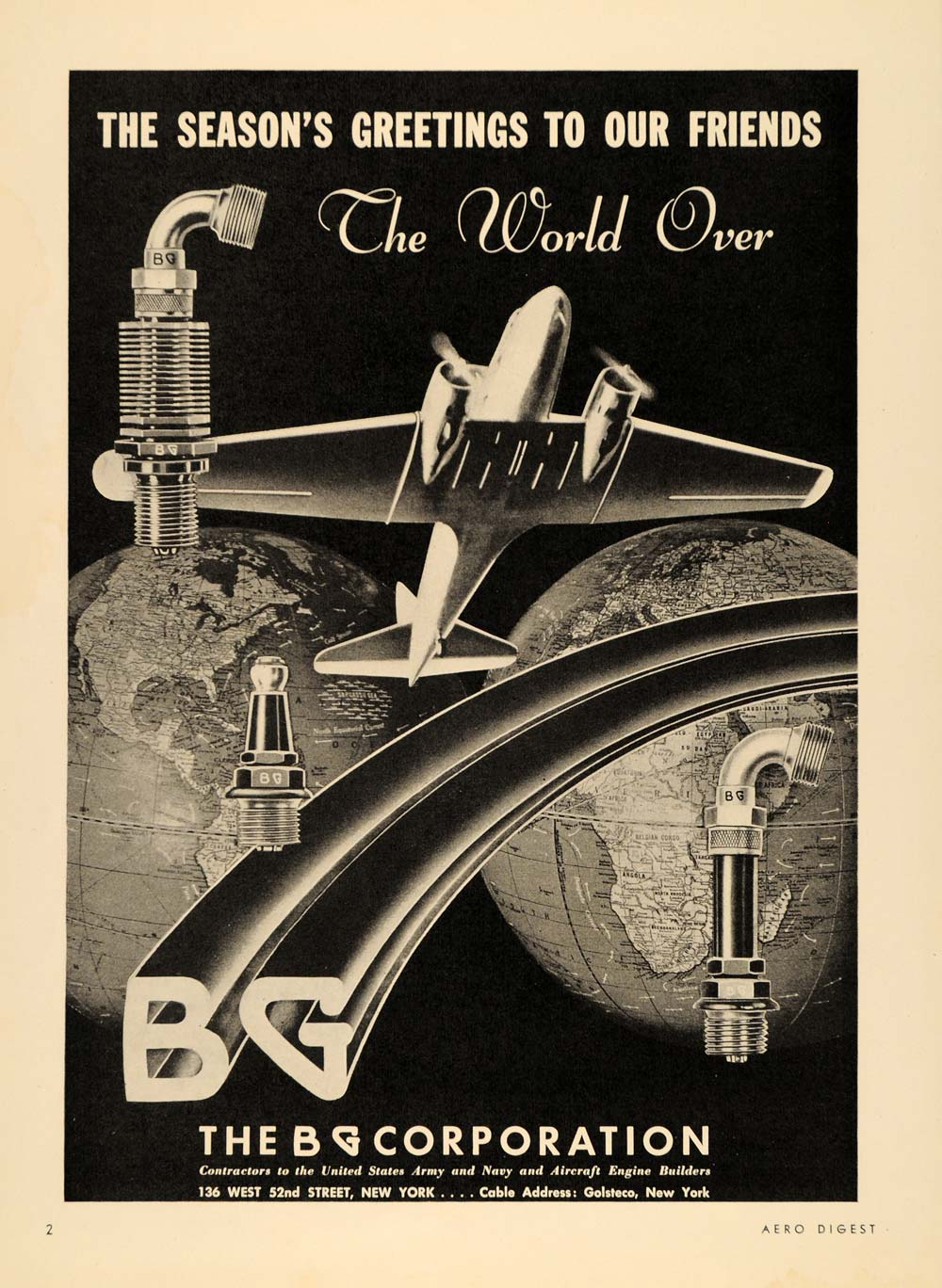 1938 Ad BG Aircraft Engine Mfg United States Army Navy - ORIGINAL FLY1