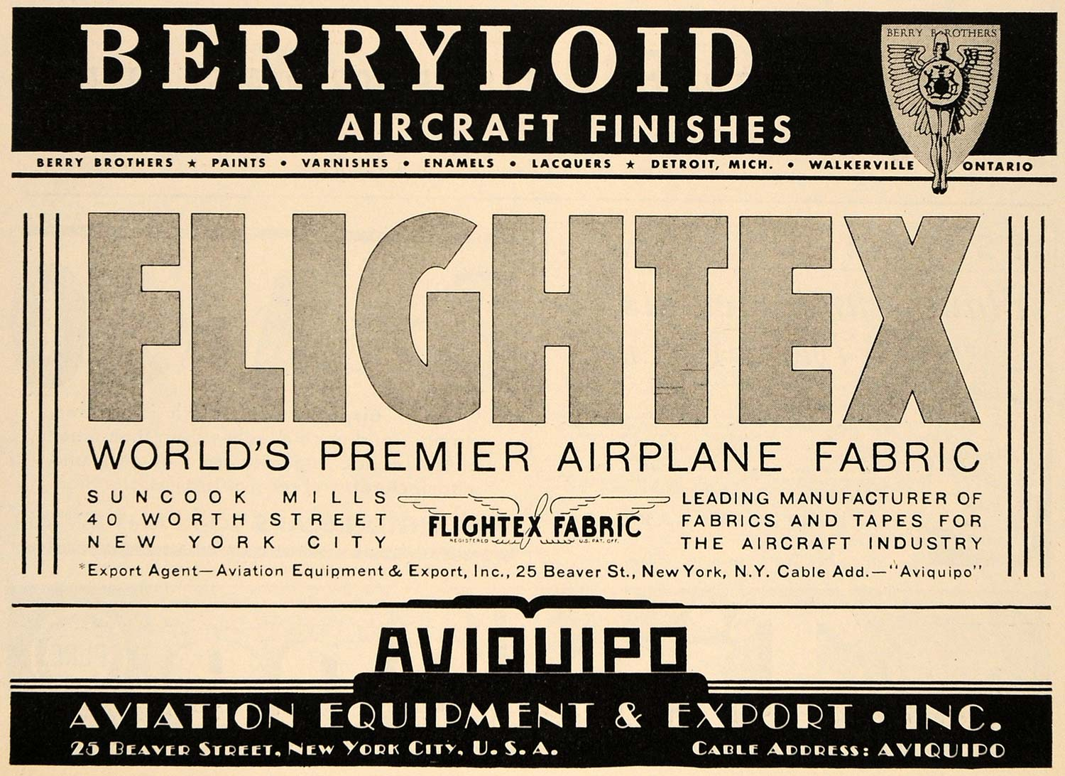 1938 Ad Berryloid Flightex Aircraft Finishes Fabrics - ORIGINAL ADVERTISING FLY1