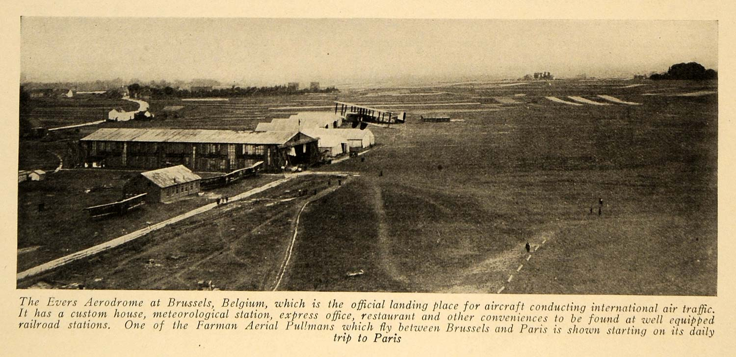 1920 Print Brussels Evers Aerodome Farman Pullman Plane ORIGINAL HISTORIC FLY2