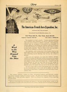 1920 Ad American-French Aero Exposition W. 44th St. NY - ORIGINAL FLY2