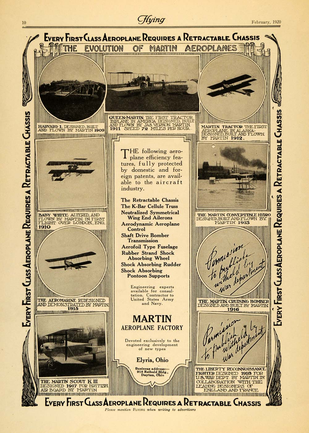 1920 Ad Martin Aeroplane Efficiency Features Chassis - ORIGINAL ADVERTISING FLY2