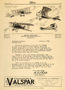 1920 Ad Valentine Valspar Airplane Varnish Scout Plane - ORIGINAL FLY2
