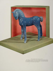 1937 Print Paul Bogatay Blue Colt Ceramic Sculpture - ORIGINAL