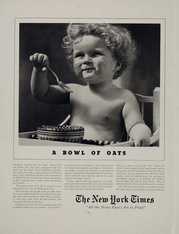 1936 Ad New York Times Newspaper Advertising Baby - ORIGINAL ADVERTISING