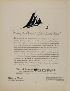 1932 Ad World Broadcasting Radio Western Electric Spot - ORIGINAL ADVERTISING