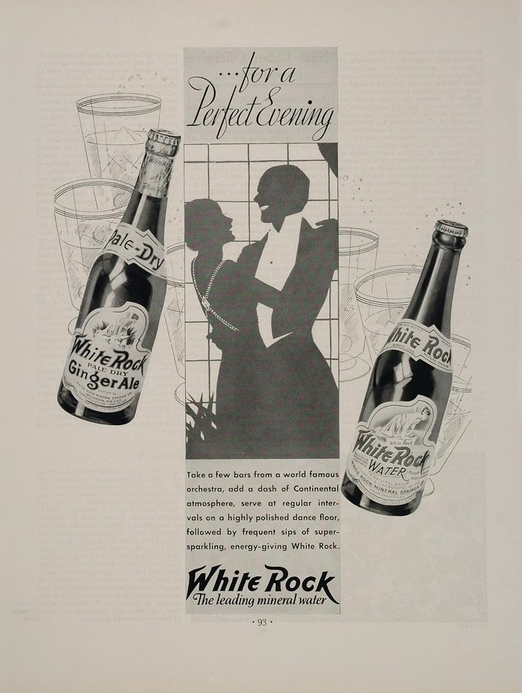 1933 Ad White Rock Mineral Water Ginger Ale Waukesha - ORIGINAL ADVERTISING