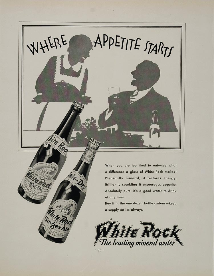 1932 Ad White Rock Mineral Water Waukesha Ginger Ale - ORIGINAL ADVERTISING