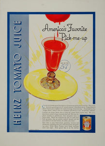 1936 Original Color Print Ad Heinz Tomato Juice NICE! - ORIGINAL ADVERTISING