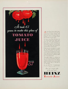1932 Original Color Print Ad Heinz Tomato Juice NICE! - ORIGINAL ADVERTISING