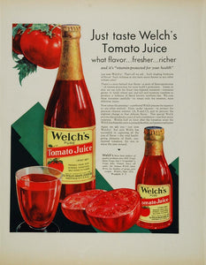 1932 Original Color Print Ad Welch's Tomato Juice NICE! - ORIGINAL ADVERTISING