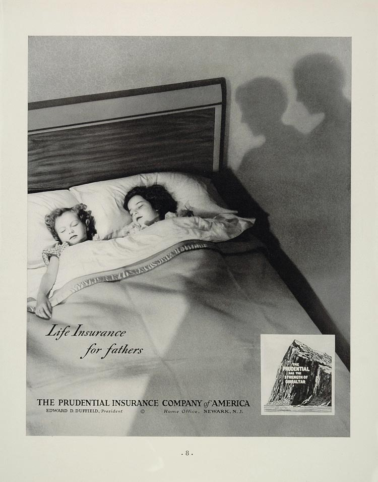1936 Ad Prudential Insurance Co. Children Bed Gibraltar - ORIGINAL ADVERTISING