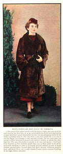 1936 Original Ad Nutria Dyed Rabbit Fur Coat Model - ORIGINAL ADVERTISING