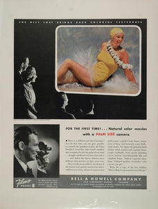 1936 Ad Bell Howell Color Movie Camera Bathing Beauty - ORIGINAL ADVERTISING