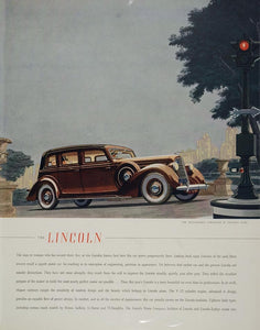 1936 Ad Brown Lincoln Willoughby Limousine Central Park - ORIGINAL ADVERTISING