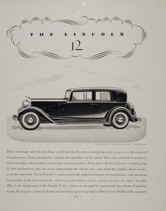 1932 Ad Lincoln V12 Two Window Town Sedan Luxury Car - ORIGINAL ADVERTISING