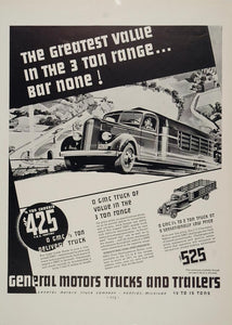 1936 ORIGINAL Print Ad GM General Motors 3 Ton Truck - ORIGINAL ADVERTISING