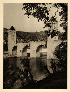 1927 Pont Valentre Bridge Arch Cahors France Hurlimann - ORIGINAL FR2