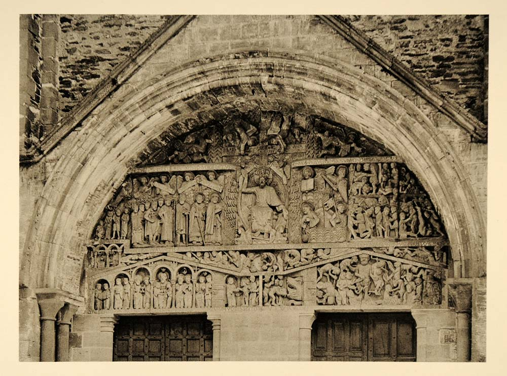 1927 Tympanum Sainte-Foy Abbey Church Conques France - ORIGINAL PHOTOGRAVURE FR2