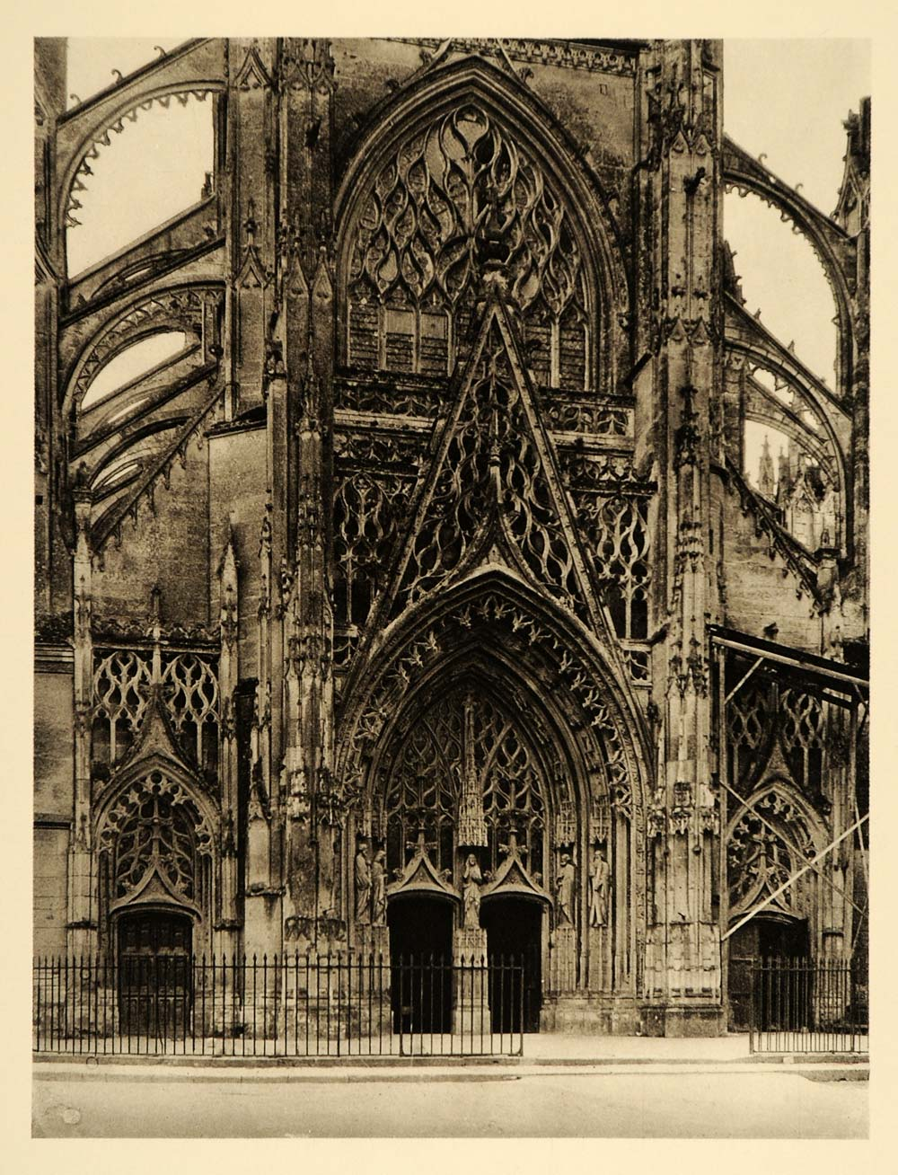 1927 Facade Trinity Church Vendome France Hurlimann - ORIGINAL PHOTOGRAVURE FR2