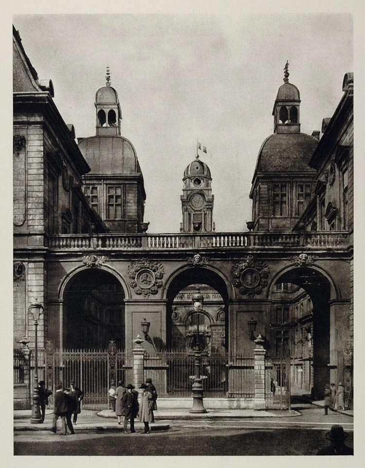 1927 Hotel de Ville Town Hall Rathaus Lyon France Print - ORIGINAL PHOTOGRAVURE