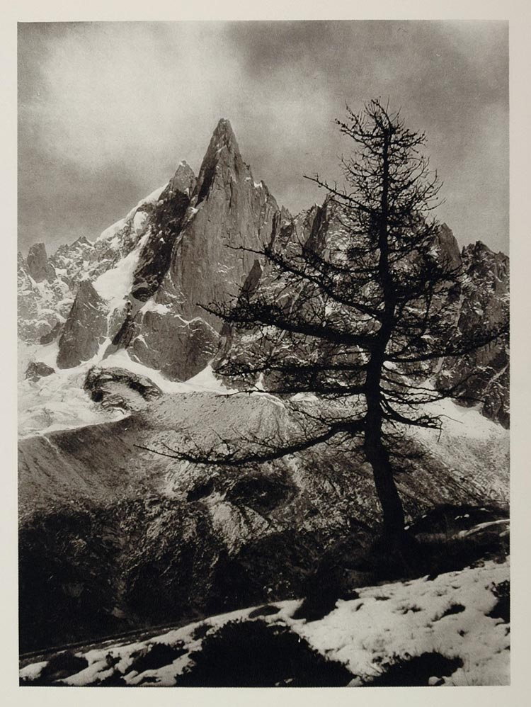 1927 Aiguille du Dru Mountain Alps France Hurlimann - ORIGINAL PHOTOGRAVURE