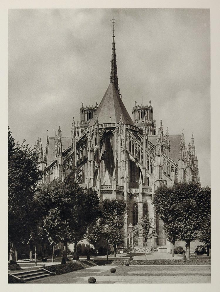 1927 Gothic Cathedral of Sainte-Croix Orleans France - ORIGINAL PHOTOGRAVURE
