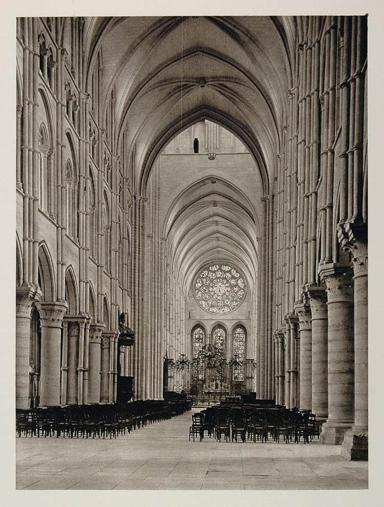 1927 Laon France Gothic Cathedral Nave Interior Print Original Photo Period Paper