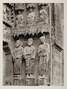 1927 Reims Rheims Cathedral Notre Dame Statues France - ORIGINAL PHOTOGRAVURE